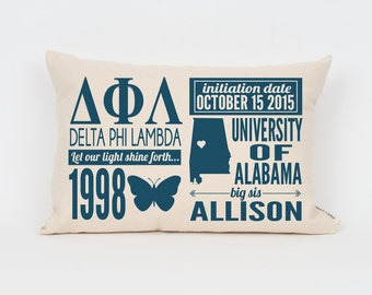 delta phi lambda custom sorority facts pillow greek letter pillow big little gift sorority letters sorority gift dorm decor