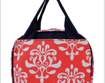 Coral Damask,  Lunch Box, Lunch Tote, Thermal Insulated, Monogramed