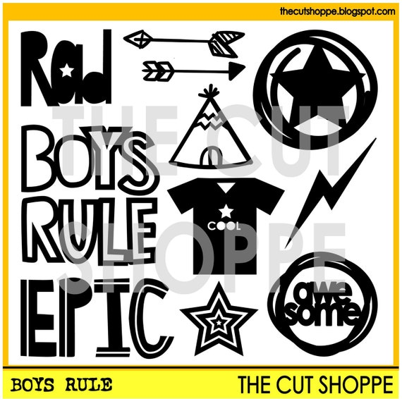The Boys Rule cut file set includes 11 boy themed icons, that can be used on your scrapbooking and papercrafting projects.