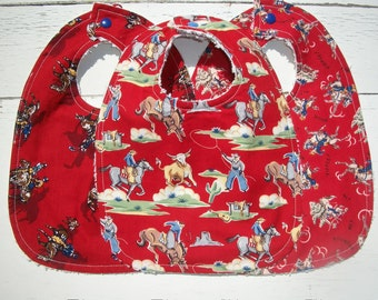 Cowboy Western Baby Bibs Set Of 3 Ready To Ship