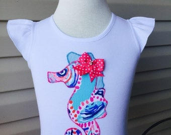Lilly Pulitzer Shell Me About It Applique Seahorse Shirt