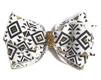 """Black and Gold Hair Bow. 4"""" Basic Boutique Hair Bow. Black and Gold Hairbow."""