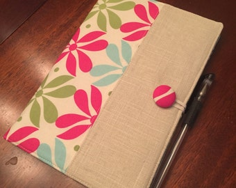 Pink and blue floral fabric portfolio, legal pad organizer, notepad cover with 5 pockets, jr. Legal pad included