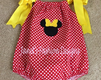Minnie Romper - Baby Romper Minnie Mouse-Disney's Minnie Mouse Baby Girl Pillowcase Bubble Romper - Red Polka Dot Personalized Baby Romper-