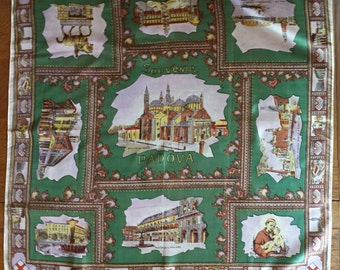 Vintage scarf Padova (Padua) Italy souvenir showing scenes including the famous basilica on a green background with intricate borders.