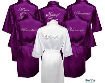 Crystal rhinetsone bride robe, Rhinestone Bridal Party Robes, Rhinestone Bridal Robe, Crystal embellished satin robes, bridesmaid robes