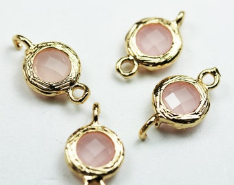 4pcs 8mm Round Pink Opal Glass and Gold Plated Brass Bezel Double bail Charm/connector - FDB0303