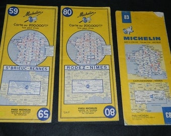 MICHELINAnciennes set of 3 road maps, from the 1960s. set of Vintage Michelin maps