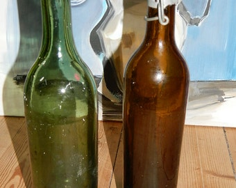 old bottles 1950s. 2 old french BOTTLES.