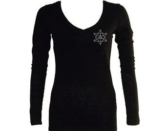 Kabbalah symbols Merkabah Merkava black women or junior t-shirt - Sacred geometry graphics