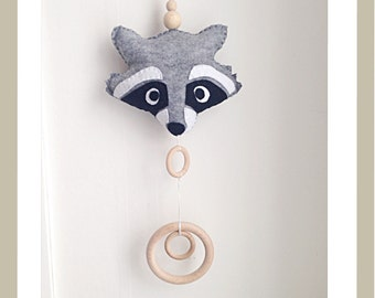 Raccoon baby mobile, felt mobile, nursery decor, baby bedding, crib mobile
