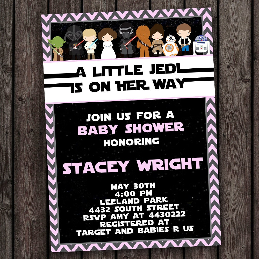 girl star wars baby shower invitation customized wording