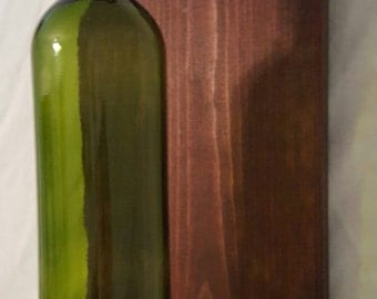 Wine Bottle Sconce (brownish/red stain)