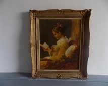 Beautiful, large, French vintage original copy of La Liseuse / Young Girl Reading, by Jean-Honoré Fragonard