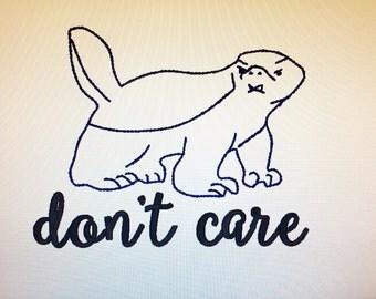 Honey Badger Embroidery Design Digital Download,Honey badger embroidery design, honey badger don't care, honey badger, don't give a