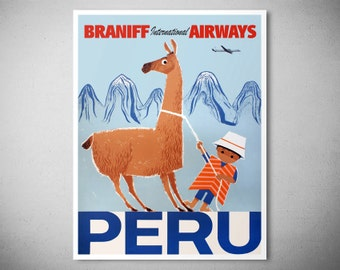 Peru Braniff International Airways  Vintage Travel Poster - Art Print - Poster Paper, Sticker or Canvas Print