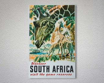 Discover South Africa Vintage Travel Poster - Poster Print, Sticker or Canvas Print