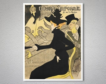 Divan Japonais Vintage Entertainment  Poster - Poster Print, Sticker or Canvas Print