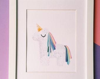Magical rainbow Unicorn Piñata nursery wall decor art print