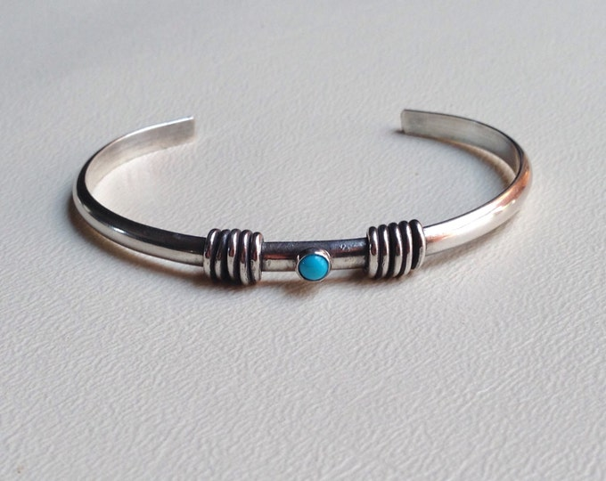 Turquoise cuff sterling silver made to order, 4mm sleeping beauty turquoise stone