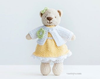 LIMON CREAM-girl, knitted toy little cotton teddy bear, size 6,5 in