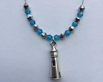 Lighthouse Charm Necklace w/ Swarovsky  Crystal Beads
