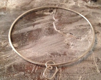 Sterling Silver 925  Hand Forged & Hammered Heart Charm Bangle