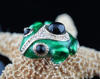 Vintage Art Deco Jewelry Vintage Green Enamel Gold Frog Jeweled Eyes Brooch Pin brooch minimalist Modernist Graceful pin cz black stone d248