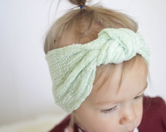 Baby (Child) Knotted Headband, Knit headband, Mint Headband