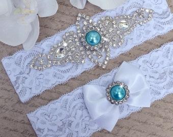 Wedding Garter Set, Ivory or White Stretch Lace Bridal Garter Set With Blue Pearl Crystal and Rhinestone Setting Garter Set, Something Blue