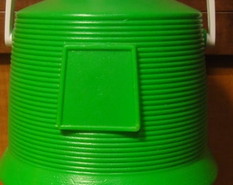 Vintage 1970 Green and White Vacucel Cooler