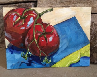 Two Tomatoes - Original still life oil painting