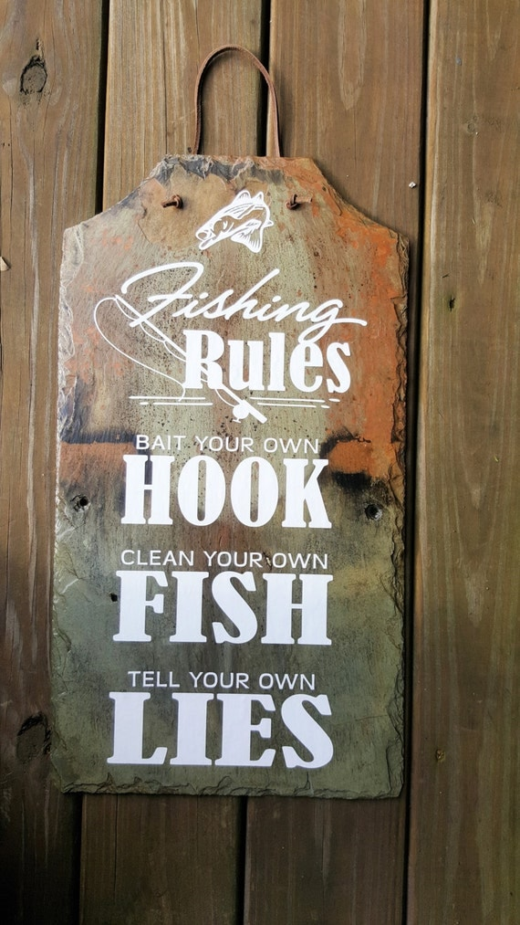 FISHING RULES - Fathers Day Gift - Gift for Dad - Fishing Sign - Slate Sign - Fishing Humor - Lakehouse Decor - Rod and Reel - Fishing Cabin