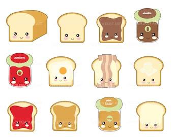 20% OFF SALE Kawaii Breads, Cute Bread, Kawaii Breakfast, Kawaii Clipart, Cute Kawaii Clipart, Breads, Breakfast