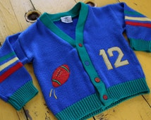 Vintage BABY BOY Size 24 Months Button Down Football Cardigan in Primary Colors, 24 months baby boy vintage clothes, 24 months boy vintage