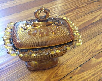 Vintage Amber Candy Dish on Pedstal with Lid