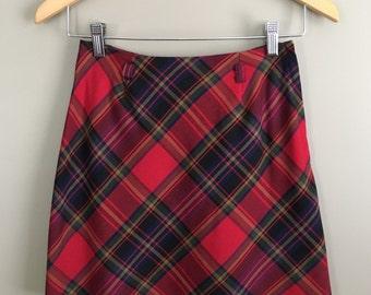 Vintage 90s Tartan Plaid Mini Skirt by Tracy Evans Limited