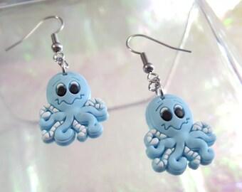 SALE little blue Octopus earrings.