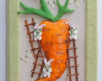20% off Handmade notebook with miniature carrot bunnies, journal diary, sketchbook