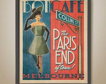 Melbourne Café Poster. Bon Café. The Paris end of town. Collins St. Melbourne Print. Coffee Poster. Melbourne Coffee Poster. Retro Poster