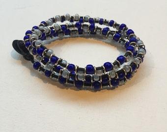 blue leather beaded wrap bracelet