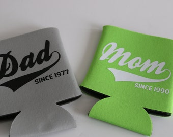 Mom and Dad Monogrammed Can Coolers Personalized Coolers Personalized Cooler Wedding Can Coolers Monogrammed Gifts
