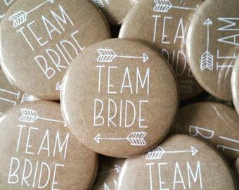 Kraft Brown Team Bride Badges - Hen Party Badges