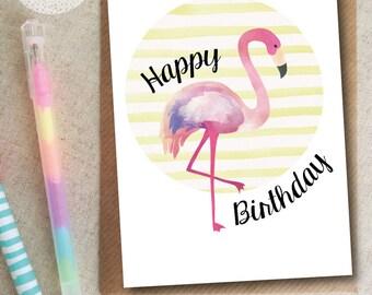 Happy Birthday Flamingo Card