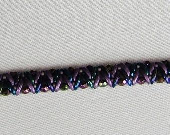 Handmade Bracelet with Iris Blue & Matte Metallic Purple Crescent Beads and Iris Purple Fire Polished beads/Anniversary/Bridal/Birthday/Gift