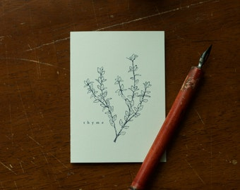Thyme Greeting Card - A1 Greeting Card - Custom Thyme Herb Illustration