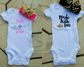 Baby girl onesie with headband/bow