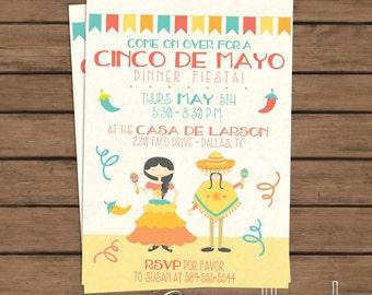 Cinco de Mayo Invite - Printable Invitation- Mexican Fiesta - Dinner Party - Rehearsal Dinner - Birthday - Co-Ed