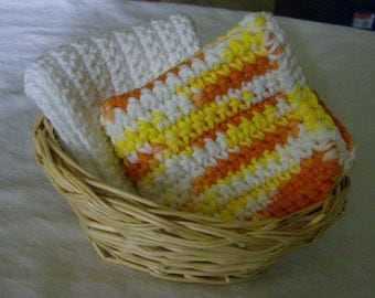 Crochet Crocheted Dishcloths Washcloths - Yellow Orange White