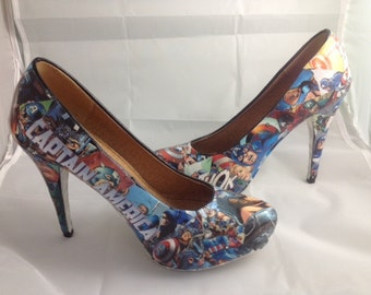 Captain America Comic Book Shoes, Superhero Heels, Unique and One of a Kind.